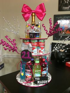 21st Birthday Present Alcohol Tower Cake Birthdays Cumpleanos