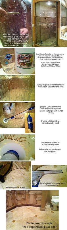 Can't remove hard water stains on your glass shower walls and doors?  I have tried everything, with little success.  We have well water -- hard water stains are going to happen.    I came across a cleaning recipe here on Pinterest for cleaning bathtubs.