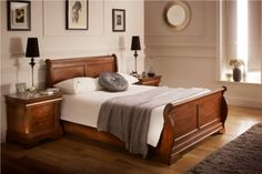 Louie Dark Wooden Sleigh Bed