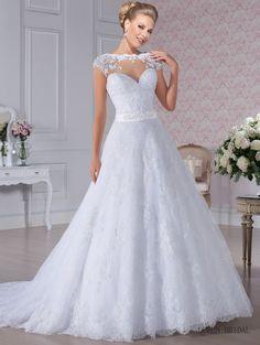 2017 New arrival scoop cap sleeve see through back zipper button sash beaded appliqued lace vestido de noiva romantic wedding dr
