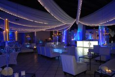 top draping with lights