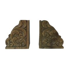Great looking! Heavy, solid wood hand carved bookends with ornate design.