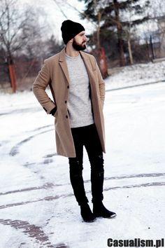 Beżowy męski płaszcz