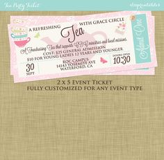 Mother's Day Tea Social Event Ticket Template Church School Community Fundraiser Brunch Women's Ministry Social by sfmprintables