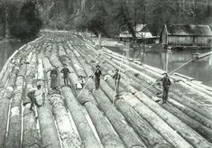 The mighty log rafts of the old new world – tough work – tough men.  Before we had the reliable infrastructure and heavy transport, loggers had to use the rivers as the way to transport their products to the sawmills and the