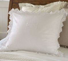 """Guest Room. $19.99 26"""" square.  White Embroidered Scallop Euro Sham #potterybarn"""