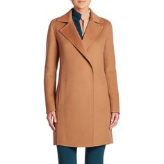 Akris Jasper Double-Face Cashmere Coat (70 305 ZAR) ❤ liked on Polyvore featuring outerwear, coats, apparel & accessories, camel, beige coat, akris, wool cashmere coat, cashmere coats and reversible coat
