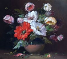 Oil on Canvas, Still Life of Flowers, by Frans Mortelmans (1865-1936). Available for purchase at http://treasuredestates.com/showroom/product/135-oil-on-canvas-by-frans-mortelmans-70