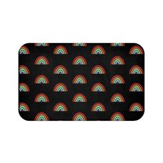 This bath mat is covered in adorable tiny rainbows on a black background. The anti-slip backing keeps the bath mat firmly in place and reduces the risk of slipping! Cat Lover Gifts, Cat Gifts, Black Bath Mat, Cool Shower Curtains, Funny Bathroom Decor, Front Door Mats, Small Makeup Bag, Bath Mat Design, Pencil Bags