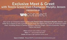 Please join us tomorrow at @ballysvegas for an exclusive #meetngreet with @weconnectnow Co-Founder and French Open Champion @murphyjensen! You can also enter for a chance to win a private #tennislesson from this #tennis legend! Space is limited so please RSVP to events@weconnectrecovery.com. More details in photo!! Hope to see you there!!