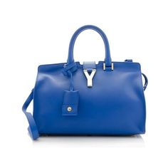 Rental Saint Laurent Leather Classic Small Cabas Y Tote ($185) ❤ liked on Polyvore featuring bags, handbags, tote bags, blue, zip tote bag, blue purse, blue leather handbag, blue tote bag and leather tote