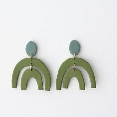 Earrings Handmade ceramic statement earrings matcha green by sigfusdesigns - How To Make Earrings, Diy Earrings, Earrings Handmade, Handmade Jewelry, Leather Earrings, Unique Jewelry, Jewelry Crafts, Jewelry Art, Jewelry Design