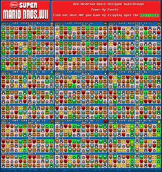 GameFAQs: New Super Mario Bros. Wii (WII) Red Mushroom House Chart by alphasoldier