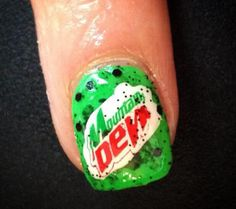 Mountain Dew nail art. Soda Brands, Mountain Dew, Cool Nail Designs, Nail Polish, Soft Drink, Nail Art, Pepsi, Nails, Prepping