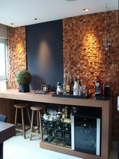 Bar Templates at Home: Definitive Guide with 4 Tips This .- Modelos de Bar em Casa: Guia Definitivo com 4 Dicas Essenciais Bar at home with wine cellar Jackeline Aguiar Project - Decor, Home, Home Bar Rooms, Modern Home Bar, Coffee Bar, House Design, Sweet Home, Interior, Home Bar Designs
