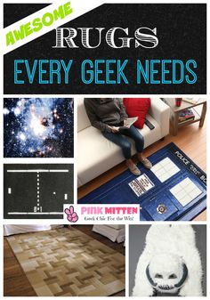 Looking to style your home in the most chic geek rugs? Take a look at some of the best (and most creative) geek rugs out there! @pink_mitten pinkmitten.com #geek #geekchic #geekhome #geekrug