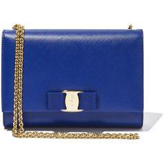 Salvatore Ferragamo Vara Mini Bag (2,890 MYR) ❤ liked on Polyvore featuring bags, handbags, shoulder bags, accessories, bolsas, clutches, blue handbags, bow handbag, blue shoulder handbags and bow purse