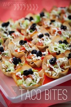 Yield: Makes approx. 42 Taco Bites. Ingredients: 1 pkg Won Ton wrappers (in the produce section) 1 lb ground turkey Taco Seasoning packet 1 can black beans, drained, rinsed and roughly chopped 3/4 cup shredded cheese Toppings of your choice.