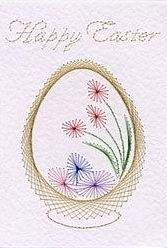 Easter basket of eggs in Easter e-patterns at Stitching Cards - ePatterns for paper embroidery Embroidery Cards, Embroidery Patterns, Card Patterns, Stitch Patterns, Iris Folding Pattern, Crochet Doily Patterns, Doilies Crochet, Sewing Cards, String Art Patterns