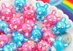 Kawaii Beads - 28mm Cute AB Bunny Rabbit Bead Chunky Acrylic or Plastic Beads - 10 pc set