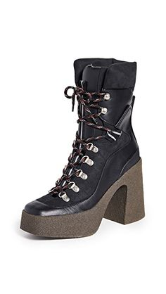 Stella McCartney Lace-Up Boots | SHOPBOP Lace Up Boots, Black Boots, Bootie Boots, Shoe Boots, Platform Boots, World Of Fashion, Luxury Branding, Black And Grey, Gray