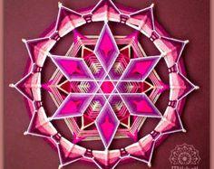 Tejido mandala Culto del sol hilado mandala huichol arte ojo