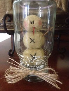 Primitive Christmas Honey and Me Mini Snowman Glass Snow Globe Jute Ornament NEW #Primitive #Handmade