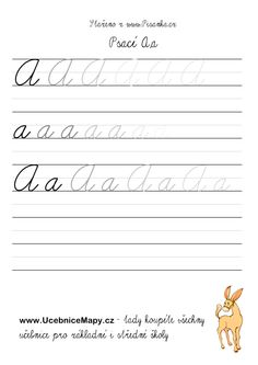 Psací písmena | Písanka.cz Kids Learning Alphabet, Pinterest Fails, Handwriting Practice, Cursive, Kindergarten, Homeschool, Crafts For Kids, Language, Classroom