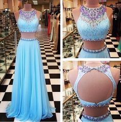 2015 Beading Prom Dresses,A-Line Floor-Length Prom Dresses,Two-Pieces Prom Dresses Prom Dresses, Charming Backless Evening Dresses,