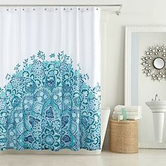 Blossoming with artistic, bohemian style, the Anthology Kaya Shower Curtain brings a delightful and refreshing touch to your bathroom. This cotton curtains features a bright blue floral print, set against a crisp white ground.