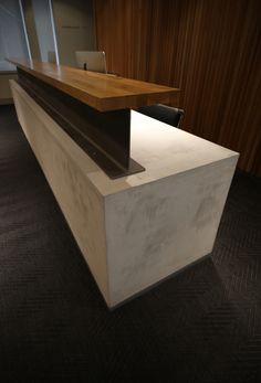 No.1 Aire Street, Leeds for The Office Group - concrete and steel I beam reception desk. Industrial chic.
