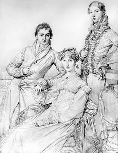 Portrait sketch of Joseph Woodhead, wife Harriet, and brother-in-law Henry George Wadesford Comber (1816):