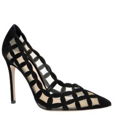 Gianvito Rossi black suede and mesh pumps. shop.wunderl.com