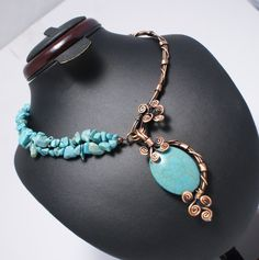 A personal favorite from my Etsy shop https://www.etsy.com/listing/470707527/turquoise-necklace-wire-wrapped-necklace