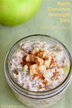 Apple Cinnamon Overnight Oats - gluten free and vegan & a great breakfast to make in advance and have waiting for you in the morning | TastingPage.com