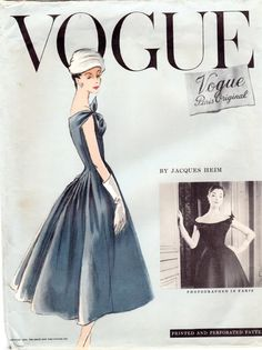 Vintage Vogue Paris Original 1337 Jacques Heim Dress and Petticoat with Elongated Back Bodice Off the Shoulder Neckline Bust by BizzieLizzies on Etsy Vogue Magazine Covers, Vogue Covers, Vintage Outfits, Vintage Fashion, Fifties Fashion, Classic Fashion, 80s Fashion, Couture Fashion, Vintage Clothing