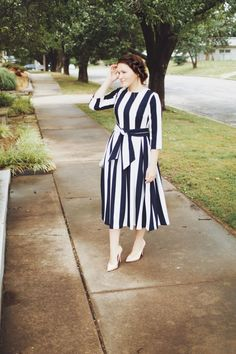 Modest navy and white striped dress with sash. Modest fashion, bridesmaid dresse… Simple dress in navy and white with stripes and sash. Modest fashion, bridesmaid dresses, ruffles and lace. Modest Wear, Modest Dresses, Modest Outfits, Simple Dresses, Bridesmaid Dresses, Modest Clothing, Women's Clothing, Midi Dress Outfit, Dress Outfits
