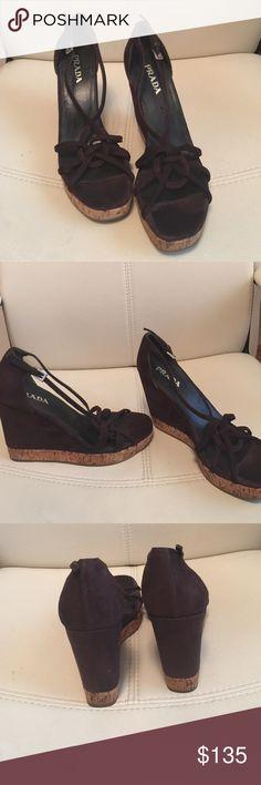 Prada wedges Authentic prada suede wedges, very good condition Prada Shoes Platforms