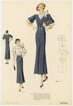 très moderne ce costume en crêpe de laine bleu marine. (1934)