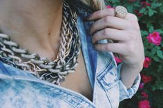 Mixed metals with acid washed chambray