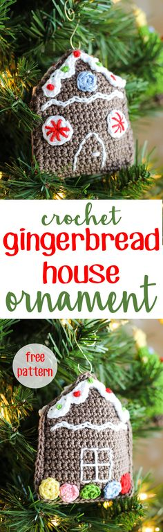 Gingerbread House Christmas Ornament | 25 Days of Christmas Traditions CAL | Free Crochet Pattern from Sewrella