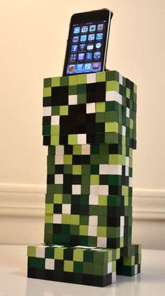 Minecraft Creeper Cell Phone Dock DIY Christmas gift for Connor (when he gets a phone or new iPod touch)