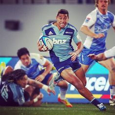 Charles Piutau in full flight for the Blues on debut on Saturday night against the Force