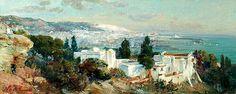 Algérie - Peintre Francais Maxime NOIRÉ(1861-1927), huile sur toile, Titre : Vue de la baie d'Alger