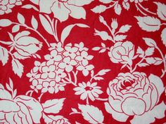 Red and White Floral (detail) - (nieszvintagefabric)