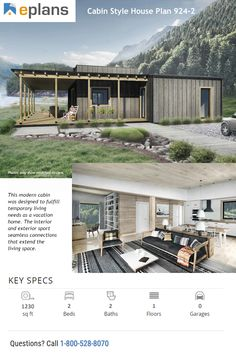 ON SALE! This modern house design was designed to fulfill temporary living needs as a vacation home. Dream House Plans, Modern House Plans, Modern House Design, Modern House Facades, Cabin Floor Plans, Modern Ranch, Exterior Cladding, Cabin Design, Facade House