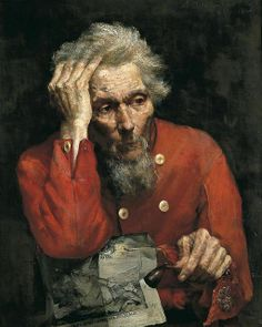 George Henry, Edward Atkinson Hornel      Portrait of an old man in a scarlet tunic, 1881. Harrogate Museums and Arts / Supplied by The Public Catalogue Foundation
