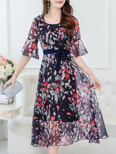 8db1554797 Fashionmia - Fashionmia Bell Sleeve Hollow Out Floral Printed Chiffon Maxi  Dress - AdoreWe.com