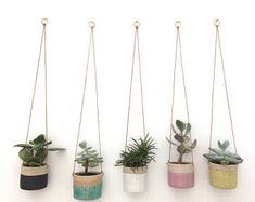 SOLD OUT - Pink handmade ceramic hanging planter, small