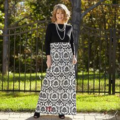 Ladies Black Damask Boatneck Maxi Dress – Lolly Wolly Doodle